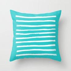 Simple Stripes - Aqua Throw Pillow