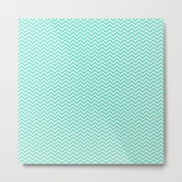 Aqua Blue Chevron Zig Zag Metal Print