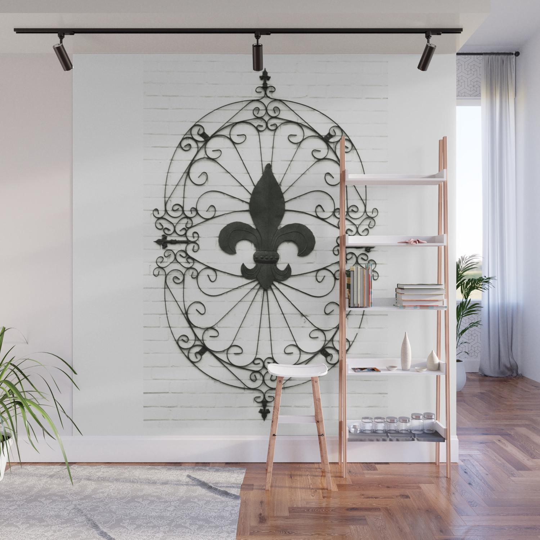Wrought Iron Fleur De Lis Wall Mural By