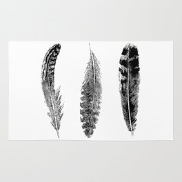 Feather Trio | Black and White Rug