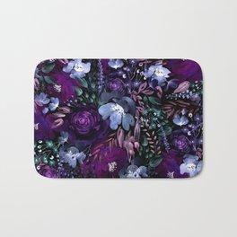 Deep Floral Chaos blue & violet Bath Mat