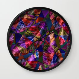 Large tropical leaves on a geometric background of bright tones Wall Clock