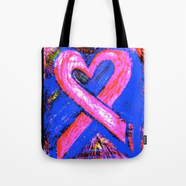 Super-Ribbon!! A Pink Ribbon for Breast Cancer Research by Jeffrey G. Rosenberg Tote Bag