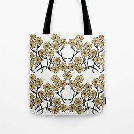 Tan Flowers Tote Bag