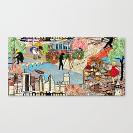 Urban Sightings Collage Canvas Print