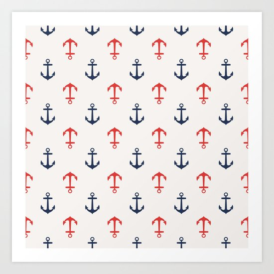 Nautical anchor pattern Art Print