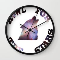 howl Wall Clocks featuring Howl by Fallen amongst the wolves