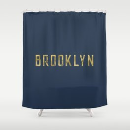 Brooklyn in Gold on Navy Shower Curtain