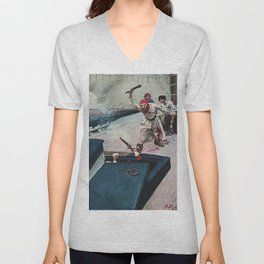 """""""The Real Fight Began"""" Pirate Art by Howard Pyle Unisex V-Neck"""