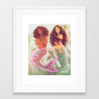 mermaids Framed Art Prints featuring Mermaids by Beverly Johnson