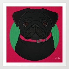 Icons of the Dog Park: Black Pug Design in Bold Colors for Pet Lovers Art Print