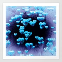 blue hearts Art Print