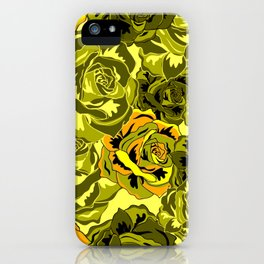 Vibrant  Green Rose floral texture iPhone Case