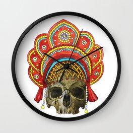 Watercolor human skull in a cocochus Wall Clock