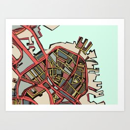 Abstract Map- Boston North End Art Print