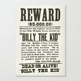 Wanted poster for Billy the Kid Canvas Print