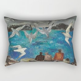 Blue Harbor, Seagulls with Fisherman at the Breakwaters nautical landscape by Bror Nordfeldt Rectangular Pillow