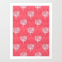 coral Art Prints featuring Coral by Marta Li