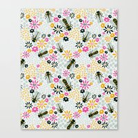 bees Canvas Prints featuring Bees by Yellow Button Studio