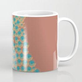 Peacock spirals _ turquoise, brown, maroon, tan Coffee Mug