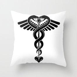 Caduceus Throw Pillow