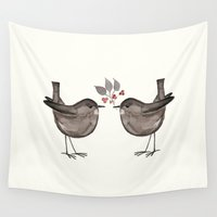 wesley bird Wall Tapestries featuring BIRD by Monika Strigel