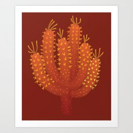 Brown Cactus - Warm Fource #cactuslover Art Print