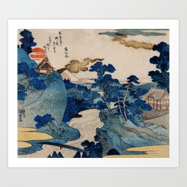 Cottages On Cliffs Traditional Japanese Landscape Art Print