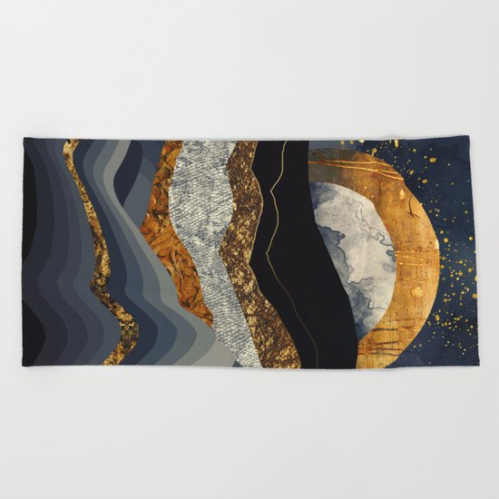 Metallic Mountains Beach Towel