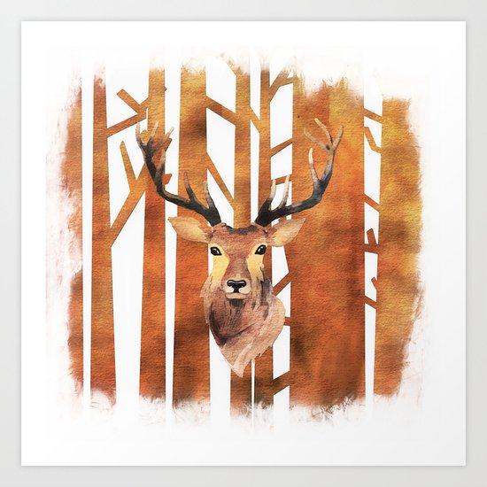 Proud deer in forest- Watercolor Illustration Art Print