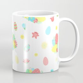 Colorful Easter Egg and Easter Flower Pattern Coffee Mug