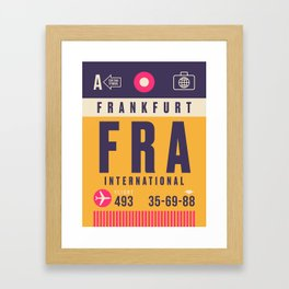 Retro Airline Luggage Tag - FRA Frankfurt Framed Art Print