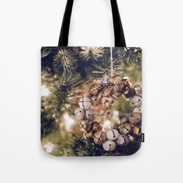 Jingle Bell Wreath on Christmas Tree (Color) Tote Bag