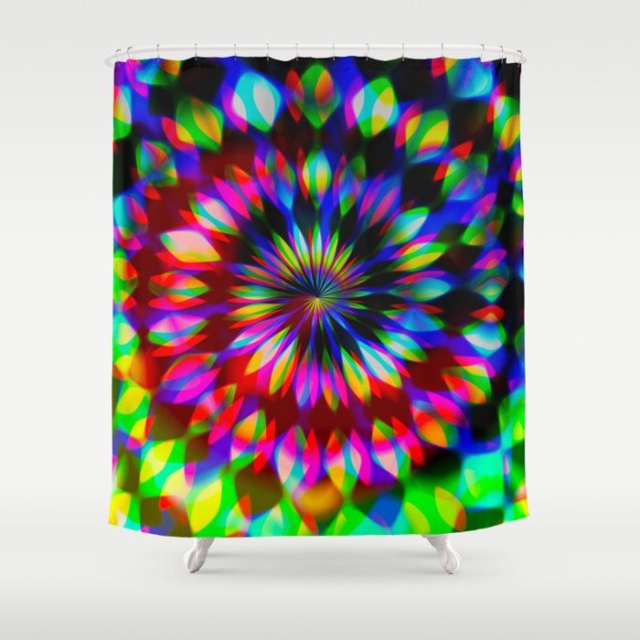 Psychedelic Rainbow Swirl Shower Curtain