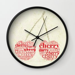 Typography cherry Wall Clock