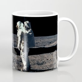 Buzz Aldrin and the U.S. Flag on the Moon Coffee Mug