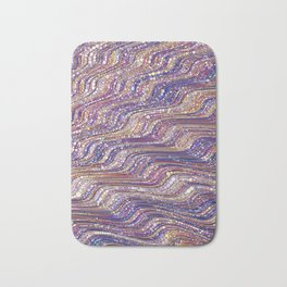 tia - abstract wave design in cool tones champagne pink blue mauve purple Bath Mat