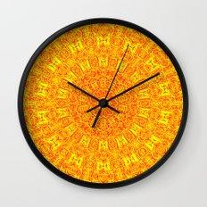 Yellow Earth Mandala Wall Clock