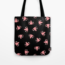 Crazy Happy Uterus in Black, Large Tote Bag
