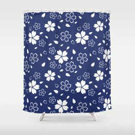 Japanese Blue Sakura Pattern Shower Curtain