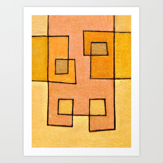 Protoglifo 04 'yellow hugging pink' Art Print