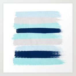 Stripes minimal painted stripe pattern blue indigo grey nautical nursery decor Art Print