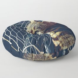 bengal cat yearns for freedom vector art foggy night Floor Pillow