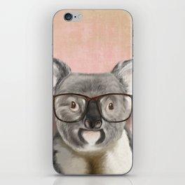 Funny koala with glasses iPhone Skin