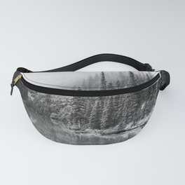 Forest on the River Black and White Fanny Pack