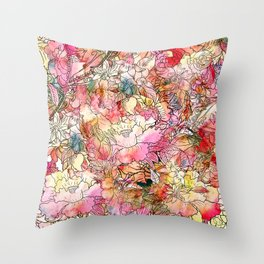 Summer Flowers | Colorful Watercolor Floral Pattern Abstract Sketch Throw Pillow