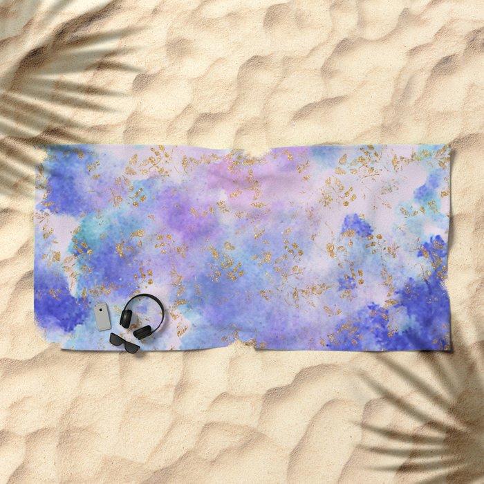 Lavender teal swirls gold Beach Towel
