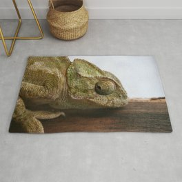 Close Up Of A Wild Green Chameleon Rug