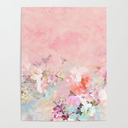 Modern blush watercolor ombre floral watercolor pattern Poster