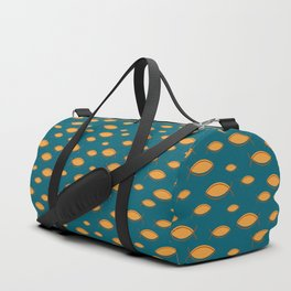 Mid Century Modern Fish in Gold on Teal Duffle Bag